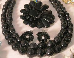 "Vintage Black Rhinestone - Glass Cabochon - Flower Brooch and Earrings with Black ""Pearl"" Necklace Free Shipping"