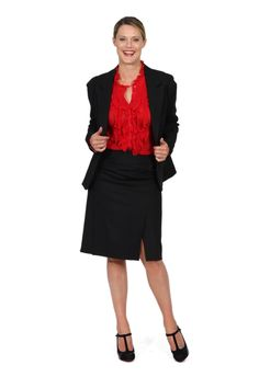 Redhead Office - A Lister Skirt. This multi panelled Black skirt is cut in a soft self check fabric. The small knit panels at the waist make the skirt so comfortable to wear. This is a gorgeous foundation piece of any corporate wardrobe.