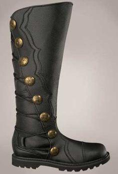 Mens Black Leather Knee High Renaissance Boots