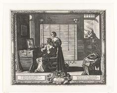 Abraham Bosse   Visus / La Vueu / Het gezicht, Abraham Bosse, François Langlois, Melchior Tavernier, 1612 - 1676   In een slaapvertrek met hemelbed maakt een dame toilet. Zij zit achter haar toilettafel waarop spiegel en kledingstukken. Haar kamenier helpt haar met het omdoen van een kraag. Onder de rok zien we een schoen met grote rozet. Op de grond, voor het hemelbed een paar slippers. Rechtsachter , voor een open venster, kijkt een man met sterrekijker naar de lucht. Met gedicht in het…