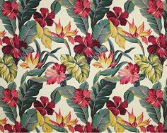 30pauhana Tropical Botanical Vintage Hawaiian Fabric Bird of Paradise and Hibiscus flowers - cotton barkcloth fabric, Hawaiian vintage style fabric.