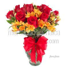 Regala Flores Rosas Rojas y Alstromerias Rojo Vibrante !| Envia Flores