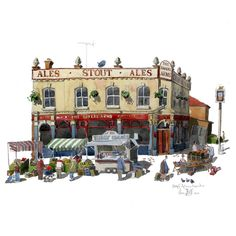 Watercolour painting of Bakers Arms Market, Walthamstow as it was in my day. Its a Bookies Now!