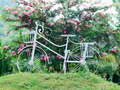 Bicicleta branca, roda, cesta, flores, grama Papéis de Parede - 1024x768