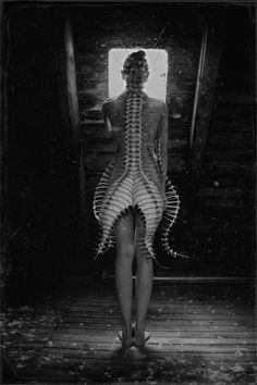 Dark Fashion - sculptural vertebrae dress; skeletal fashion; wearable art // Nika Danielska Design