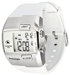 Freestyle Men's FS84855 Durbo Digital White and Steel Polyurethane Watch Freestyle. $89.99. Water-resistant to 330 Feet (100 Meters). Custom Fin-Key, Chronograph, Stopwatch, Dual Time, 2 alarms, Pre-Set Timer, Calendar. Night vision Backlight. Digital-Quartz-Movement. Polyurethane strap with adjustable buckle