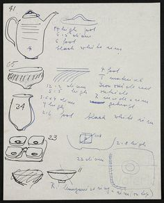 Lucie Rie Sheet of sketches from Council of Industrial Design correspondence for Festival of Britain, 1951. © Mrs. Yvonne Mayer/Crafts Study Centre.