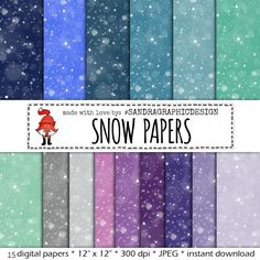 "New to SandraGraphicDesign on Etsy: Snow digital paper: ""SNOW PAPER"" with snow pattern in pretty winter colors for card making scrapbooking (1261) (4.50 USD)"