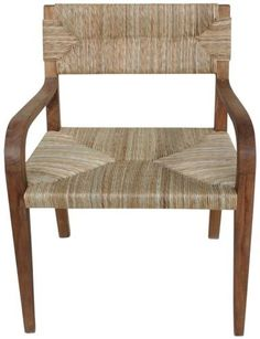 Set-of-TWO-38-H-Arm-chair-teak-sea-grass-seat-back-rustic-light-brown-rugged-GM