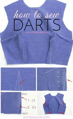 Learn all about sewing darts to give your clothing and bags a 3 dimensional shape. Here I show you step by step how to mark and sew perfect darts every time Hand Sewing Projects, Sewing Projects For Beginners, Diy Projects, Techniques Couture, Sewing Techniques, Sewing Hacks, Sewing Tutorials, Sewing Tips, Tutorial Sewing