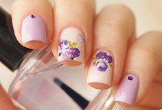 Purple floral bud nail decals/ Floral nail sticker…
