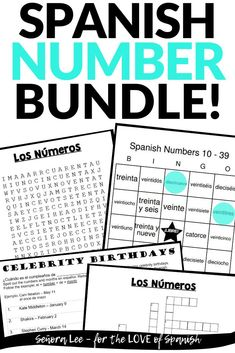 "Spanish Number Activities | 4 printable worksheets to practice Spanish numbers 1-100. These instant, no-prep activities save time & make learning numbers in Spanish fun! Kids love playing the bingo game & seeing celebrities who share their birthday. The word search & crossword puzzle are great fast finisher activities, for review or use as Spanish sub plans! Teachers are saying: ""Excellent resource! My students were very engaged!"" #spanishnumbers #spanishnumbersactivity… Simple Spanish Words, Spanish Word Wall, Spanish Numbers, Spanish Phrases, Spanish Vocabulary, Spanish 1, Spanish Class, Spanish Teaching Resources, Spanish Activities"