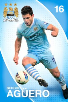 Manchester City : Aguero - Maxi Poster x (new & sealed) City Of Manchester Stadium, I Love Manchester, Joe Mercer, Sergio Aguero, Kun Aguero, Different Sports, English Premier League, Sports Art, Lionel Messi