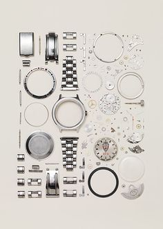 Credit: Todd McLellan/Thames & Hudson Disassembled Russian Vostok watch from the 90s. Number of parts: 130