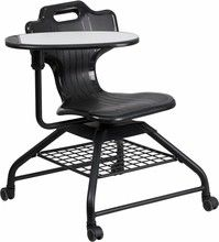 Quick-Ship Mobile Classroom Chair with Tablet Arm, Black