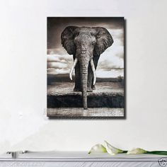 Contemporary Wall Decor Asian Art Oil Painting Elephant On Huge Canvas NO Framed