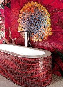 Mosaic bathtub and wall treatment.
