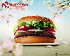 Extra larger #burger to have extra fun. Visit Barcelos in #Delhi. www.barcelos.co.in    #restaurant #dish #recipe #burger #chicken #salad  #drink