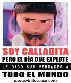 jajajajajajajaja 😂 . . . . Entra aquí ➡️ www.viniloscasa.com . . . . #viniloscasa #tenvinilo #latiendadelaspegatinas #teleadhesivo #myvinilo #tusvinilos #decorarconvinilos #vinilosconarte #zebravinilos #vinilosbaratos #vacro #vinilosdecorativos #vinilos #frases #frasesparacompartir #cabronazi #viral #meme #memes #pixer #pixers #Minions #MiVillanoFavorito #Agnes Funny Spanish Memes, Spanish Humor, Spanish Quotes, True Quotes, Funny Quotes, Funny Memes, Jokes, Triste Disney, Frases Tumblr