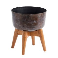 Nordal Plantenstandaard Stained Hout Bruin - 24 x Ø21 cm - afbeelding 1