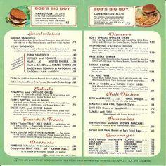 Bob's Big Boy Menu. Wow, a hamburger .45 cents. I wish!!