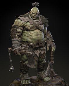 Orc Warrior sculpt based on Dimelife concept art. Orc Warrior, Fantasy Warrior, Fantasy Rpg, Medieval Fantasy, Fantasy Character Design, Character Design Inspiration, Character Concept, Character Art, Concept Art