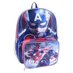Marvel 16 Captain America: Civil War Kids Backpack with Lunch Kit - Red - Visit to grab an amazing super hero shirt now on sale!