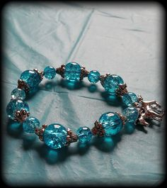 Blue and silver beaded bracelet with horse charm by MsMelissJewelryMore on Etsy