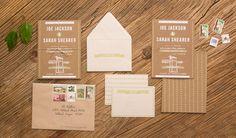 Oh So Beautiful Paper: Sarah + Joe's DIY Rustic Screen Printed Wedding Invitations