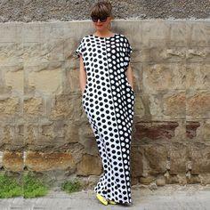 Black White Polka Dot Printed Dress