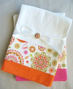 Kitchen towels with pink and orange by SeamlessExpressions on Etsy