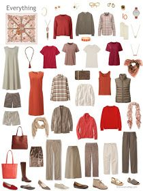 a capsule wardrobe in shades of brown, red and orange