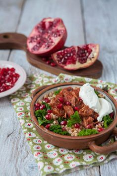 Spelt with Kale, Pulled Beef and Pomegranate Seeds