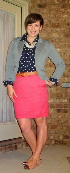 Gray blazer, navy polka dots, pink skirt