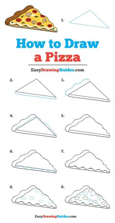 Learn How to Draw a Pizza: Easy Step-by-Step Drawing Tutorial for Kids and Beginners. #Pizza #DrawingTutorial #EasyDrawing See the full tutorial at https://easydrawingguides.com/how-to-draw-a-pizza/. Drawing Tutorials For Beginners, Art Tutorials, Doodle For Beginners, Drawing For Kids, Basic Drawing, Step By Step Drawing, Food Drawing Easy, Drawing Lessons, Drawing Techniques