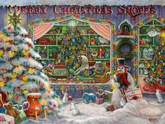 """MERRY CHRISTMAS SHOPPE a Victorian Christmas shoppe by artist Janet Kruskamp oil on canvas 18""""X24"""" to purchase go to: www.janetkruskamp.com or visit Los Gatos,CA Studio/Gallery for appt. call 408-374-1627"""