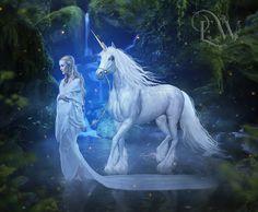 """Secret Places"" Unicorn and elf fantasy art"