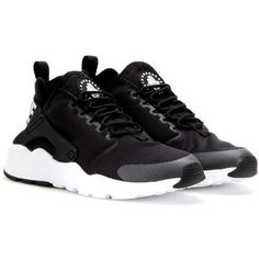 Nike Nike Air Huarache Run Ultra Sneakers ($155) ❤ liked on Polyvore featuring shoes, sneakers, black, kohl shoes, nike trainers, black shoes, black sneakers and nike shoes