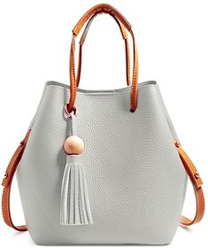 06bf594e40b Turelifes Tassel buckets Totes Handbag Women s casual Shoulder Bags Soft  Leather Crossbody Bag 3 Back Method Purse (Grey)  Handbags  Amazon.com