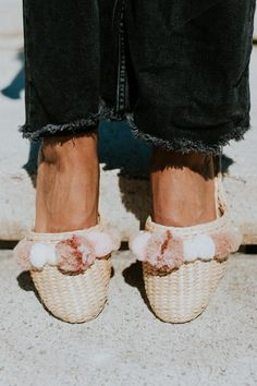 Slides for vacation...and beyond. Folk Fortune Pom Pom Slippers, $65, available at Verse20. #refinery29 http://www.refinery29.com/best-clothing-under-100-dollars#slide-96