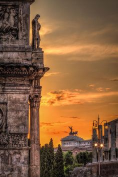 Sunset at Colosseum Square, Rome, Italy.