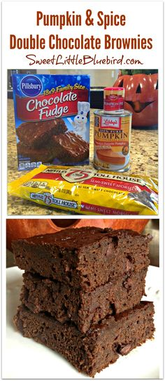 PUMPKIN & SPICE DOUBLE CHOCOLATE BROWNIES - Only 4 ingredients to make this awesome fall treat! Easiest, moistest, fudgiest brownies ever!   SweetLittleBluebird.com
