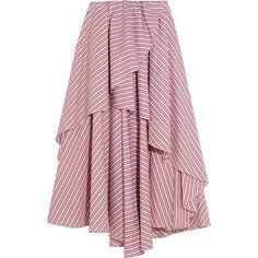 Caroline Constas Adelle asymmetric striped cotton mini skirt (£450) ❤ liked on Polyvore featuring skirts, mini skirts, bottoms, long skirts, short skirts, mini skirt, short red skirt, stripe skirts and red ruffle skirt