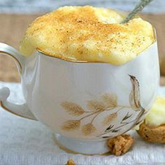 Milk tart cups - Try this jazzed up version - served in a cup with crunchy Amaretti biscuits. Mug Recipes, Sweet Recipes, Cake Recipes, Dessert Recipes, Cooking Recipes, Recipies, Custard Recipes, Easy Cooking, Kos