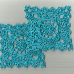 Details about 2 Crochet Doilies Small Lace Copper Mist 5 Crochet Coaster Pattern, Crochet Motif Patterns, Crochet Blocks, Crochet Squares, Crochet World, Crochet Home, Crochet Buttons, Thread Crochet, Crochet Stitches