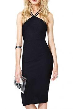 Plain Strapy Back Bodycon Midi Dress with Sleeveless