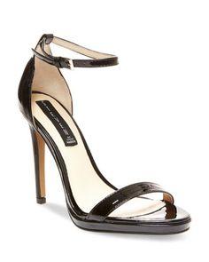 94251a2436c3e2 STEVEN BY STEVE MADDEN Ankle Strap Sandals - Rykie High Heel Schwarze  Lackschuhe