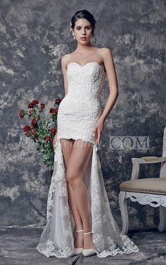 Sweetheart High-low Lace Wedding Dress. #lace #weddings #DorisWedding.com