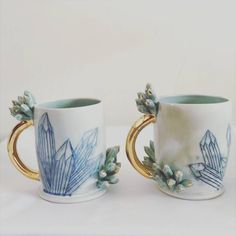 Katie Marks (@anotherseattleartist) • Instagram photos and videos Light Blue Green, Crystal Decor, Cute Mugs, Clay Projects, Inspired Homes, Tea Cups, Objects, Pottery, Ceramics