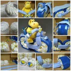 Baby Shower Nappy Cake, Diaper Shower, Baby Shower Gift Basket, Baby Shower Niño, Baby Baskets, Baby Shower Diapers, Baby Shower Gifts, Baby Gifts, Tricycle Diaper Cakes